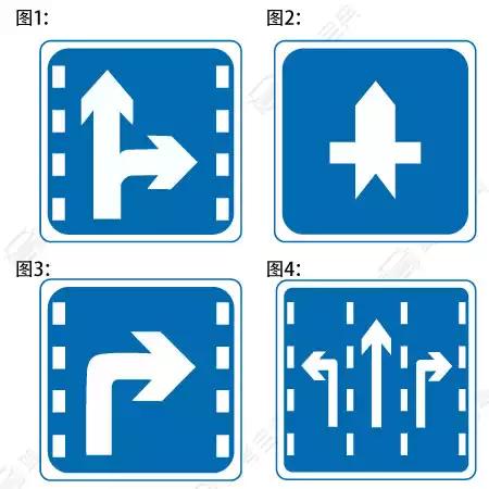 下列哪个标志,指示车辆直行和右转合用车道?