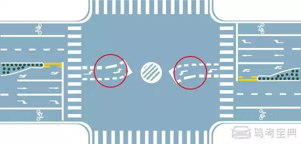 图中圈内两条白色虚线是什么标线?