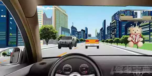 如图所示,驾驶机动车时,前风窗玻璃处悬挂放置干扰视线的物品是错误的。
