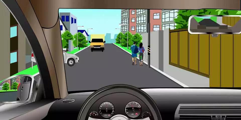 如图所示,驾驶机动车遇到这种情形时,以下做法正确的是什么?