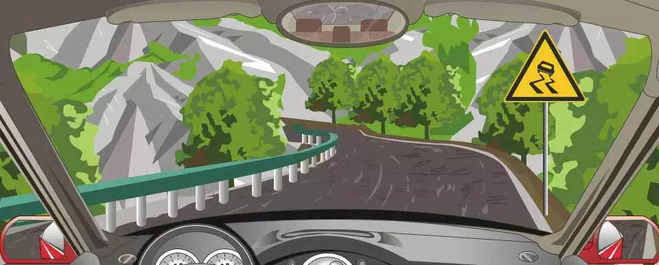 右侧这个标志提示前方是连续急转弯道路。