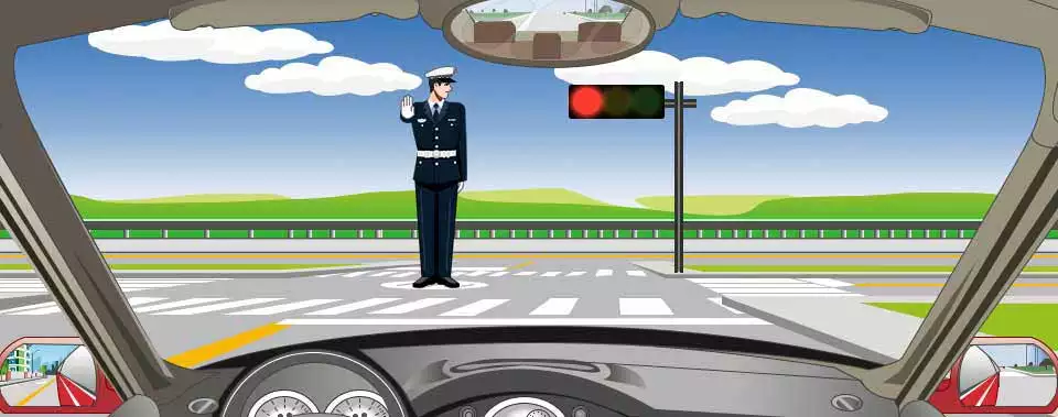交通警察发出这种手势信号可以直行通过。