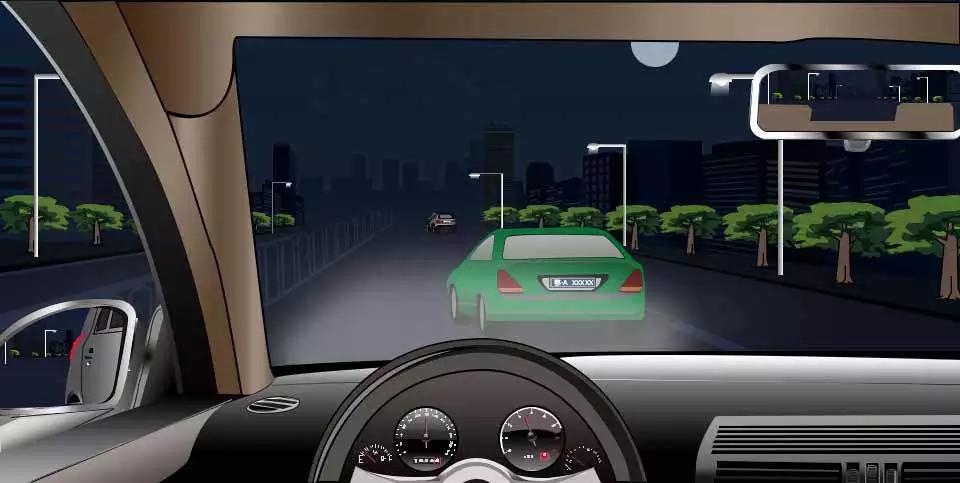 如图所示,夜间驾驶机动车遇到其他机动车突然驶入本车道时,应当如何避让?