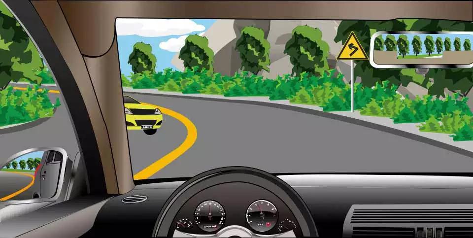 如图所示,驾驶机动车遇弯道会车时,以下做法正确的是什么?