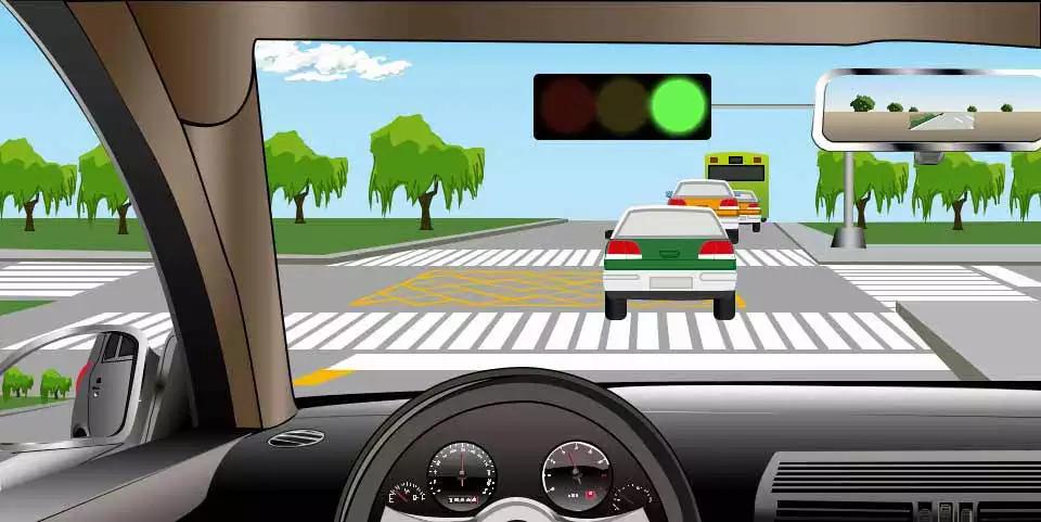 如图所示,直行车辆遇到前方路口堵塞,以下说法正确的是什么?